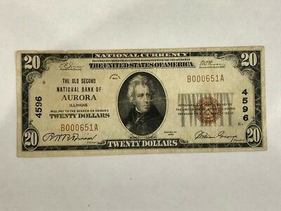 1929 $20 Note, The First National Bank Of Aurora Illinois  F+   BDP37