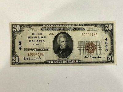 1929 $20 Note, The First National Bank Of Batavia Illinois  EF   BDP38