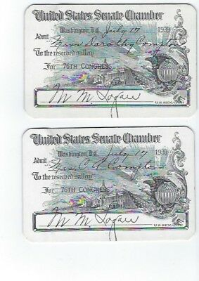 U.S. Senate Chamber, 1939 Gallery Pass, Set of 2, Excellent Condition