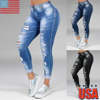 Women Denim Skinny Long Pants High Waist Ripped Stretch Trousers Pencil Jeans US