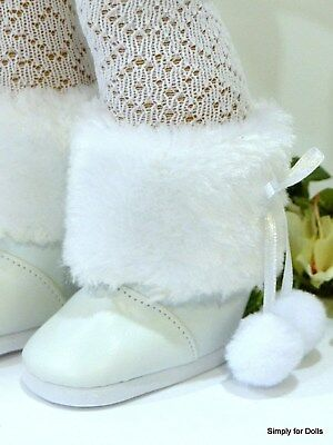 """WHITE w/ Fur Trim SNOW BOOTS Doll SHOES fits 18"""" AMERICAN GIRL DOLL"""