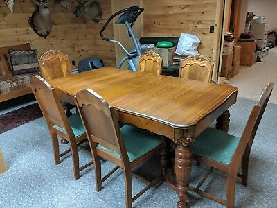 Vintage Art Deco Dining Set complete with Buffet, 6 chairs, and extension. Great