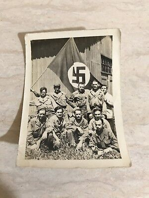 WW2 German Flag Capture Photo US GI