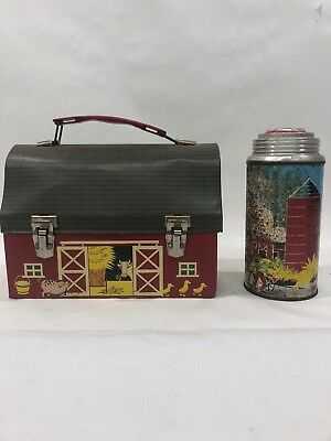 1958 Red Barn  Dome Lunch Box & Thermos * Vintage * Farm House *