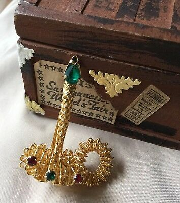Vintage Christmas Candle Green Red Faceted Crystal Set Stone  Brooch Pin Holiday