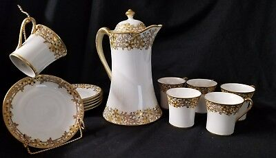 Antique hand painted Nippon moriage china tea set gold gilding teapot 13 pc lot