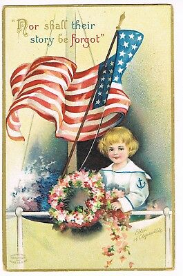 """ANTIQUE  Postcard    (ELLEN CLAPSADDLE)    """"NOR SHALL THEIR STORY BE FORGOT"""""""
