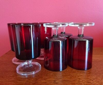 Set of 6 Vintage/retro Luminarc ruby red wine glasses made in France