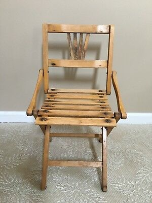 Vintage Wood Child's Folding Slatted Deck Chair 1930s-1950s , Height 22 inches
