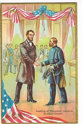 """ANTIQUE EMBOSSED Postcard      """"MEETING OF PRESIDENT LINCOLN AND GENERAL GRANT"""""""