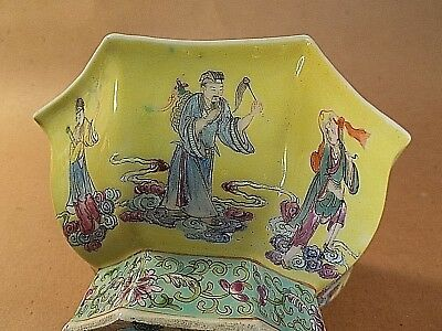 """Old octagonal Chinese bowl with depictions of (Eight Immortals?), marked """"China"""""""