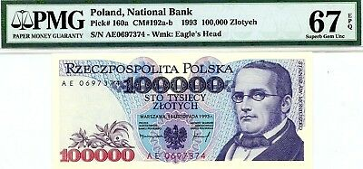 MONEY POLAND 100,000 ZLOTYCH 1993 NATIONAL BANK PMG GEM UNC PICK # 160a RARE