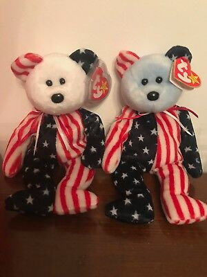 TY Spangle White and Blue face Bear Beanie Babies With Tags 1999. RARE, Errors