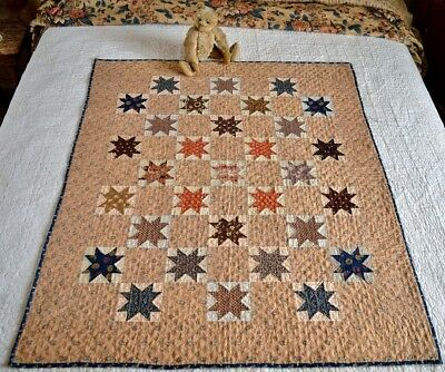 Antique Hand Stitched Calico Star Crib Quilt