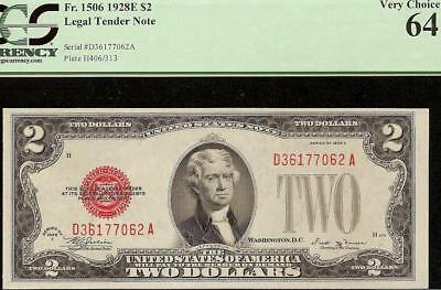 UNC 1928E $2 TWO DOLLAR UNITED STATES LEGAL TENDER RED SEAL NOTE Fr 1506 PCGS 64