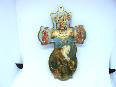 """A Lovely St.padre Pio 6"""" Wooden Wall Plaque"""