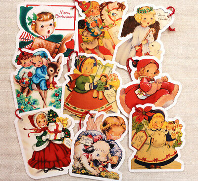9 Gift Tags~Christmas~Christmas Girls & More~Paper Ornaments Vintage Card Images