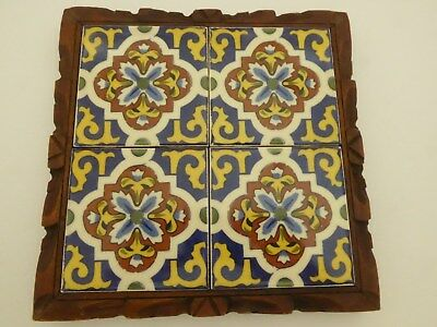 """Vintage Mexican Tile Trivet Mural Carved Wood Frame 10""""x10"""" Blue Brown Yellow"""