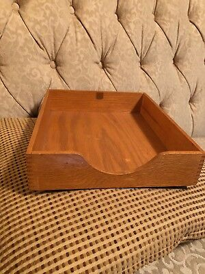 Vintage Wood Inbox Letter Paper Tray File Desk Box Mitered Corners
