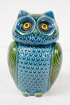 "11"" Rare Hand Crafted Ceramic Blue Green Owl Cookie Jar Kitchen Home Decor"