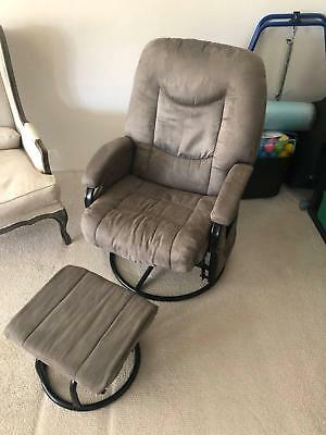 AS NEW '4Baby' Glider Breastfeeding Chair + Ottoman - GREY/MAUVE - barely used!