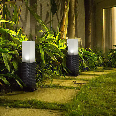 4PS Rattan Style Solar Powered Motion Ground Post Path Stake Lights Garden Patio