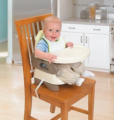 Folding Infant Feeding Seat Toddler Booster Chair Straps Compact Tray Table Eat