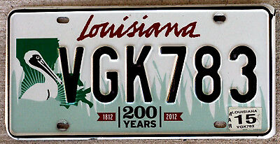 "2015 Louisiana Bicentennial ""200 Years"" License Plate - Large Brown Pelican"