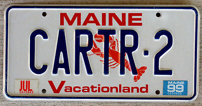 """1999 Maine """"Lobster"""" Vanity License Plate """"Vacationland"""" [CARTR-2] Carter #2"""