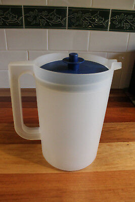 LargeTupperware Jug. Clear base & blue lid . Approx. 2.4 litre capacity