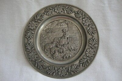 A Vintage Pewter Plaque Wall Hanging German Sks Zinn 95%  Shepherd With Sheep
