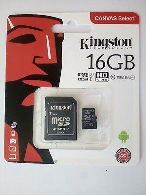 KINGSTON Micro SD 16 GB classe 10 MICROSD 80 MB/S Canvas SCHEDA MEMORIA SDCS
