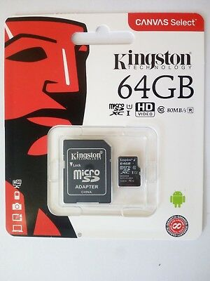 KINGSTON Micro SD 64 GB classe 10 MICROSD 80 MB/S Canvas SCHEDA MEMORIA SDCS