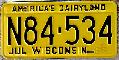 1968 Black on Yellow Wisconsin License Plate