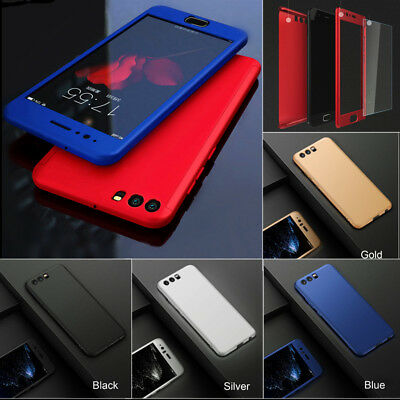 360° Full Protective Hybrid Case + Tempered Glass Cover For Huawei Y6 2018