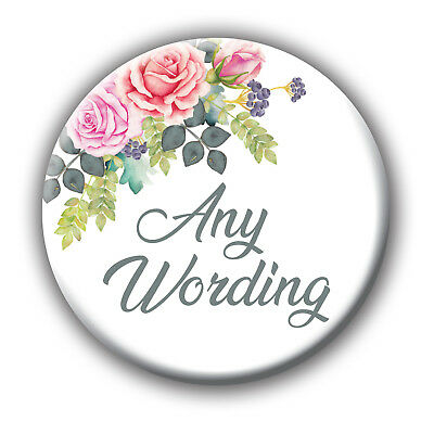 Badge Magnet Mirror Gift 5for4 Bride Tribe Peach Pale Camellias Floral Hen