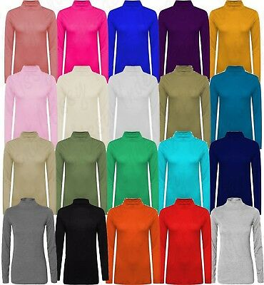 Ladies Polo Neck Top Womens Stretch Long Sleeve Turtle Neck Top Jumper Pullover