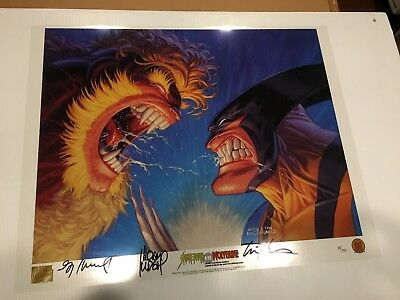 Marvel Dynamic Forces Wolverine Sabertooth Rare Ltd Acetate Lithograph Signed