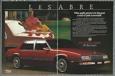 1990 BUICK LESABRE 2-page advertisement, Buick LeSabre sedan, Canadian advert.