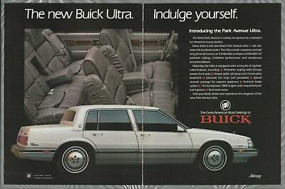 1989 BUICK PARK AVENUE 2-page advertisement, Buick Park Avenue Ultra sedan