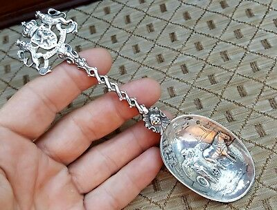 Vtg Antique Old Dutch Netherlands Coat of Arms Sterling Silver Souvenir Spoon