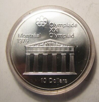 """Canadian Silver $10 Montreal Olympic """"Temple of Zeus"""""""