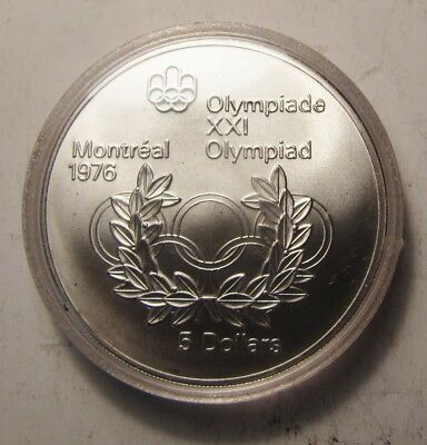 """Canadian Silver $5 Montreal Olympic """"Olympic Rings and Wreath"""""""