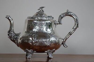 Stunning Antique  Hand Chased Silverplate Teapot By Charles Boyton