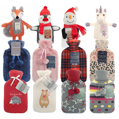 Country Club Hot Water Bottle Natural Rubber + Fleece Fur Knitted Novelty Covers