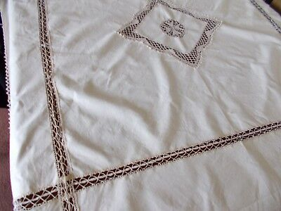 "Vintage Cream Table Cloth  With Lace Panels and Trim 40"" x 44"""