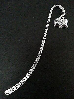 New Antique Silver Metal Bookmark with Open Book Shape Charm Accessory Gift