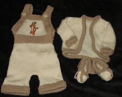 New Hand Knitted Outfit Trousers With Bib Top Cardigan & Shoes 0 - 3 Months