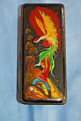 Russische Lackdose Fedoskino Phoenix signiert