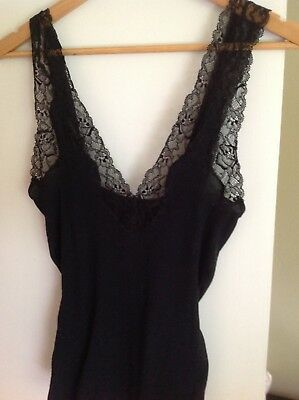 Zimmerli Black Ribbed Cotton and Lace Camisole Deep V-neck